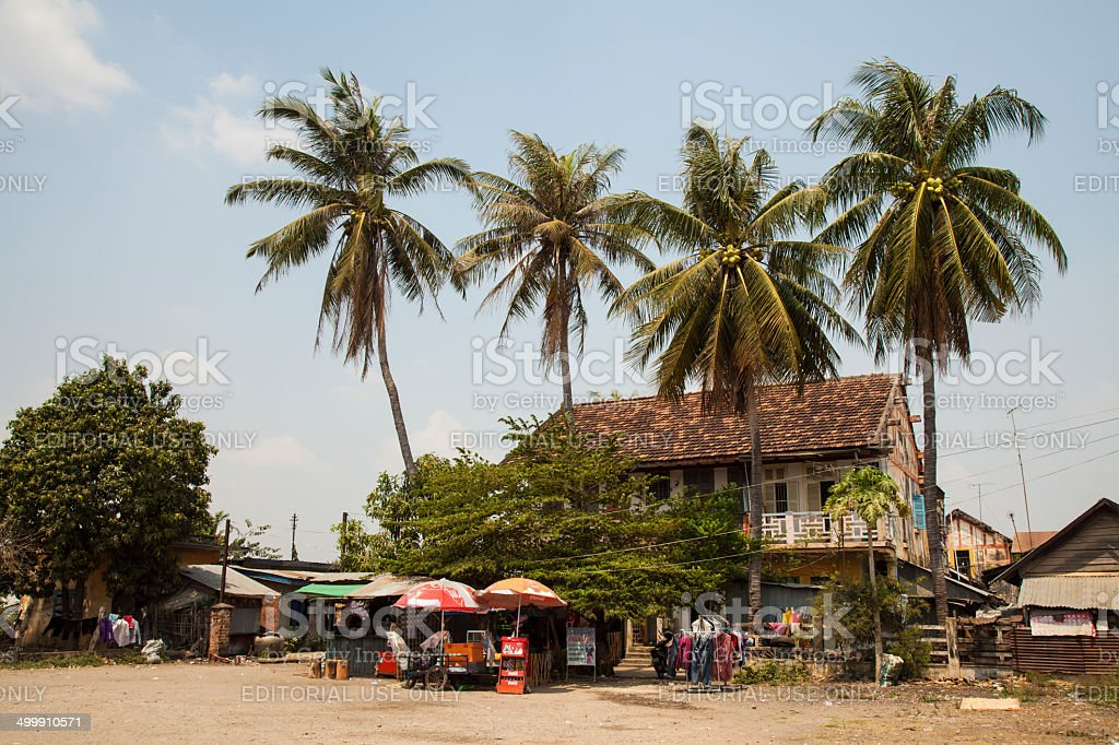 Cambodian French Colonial Building in Battambang stock photo