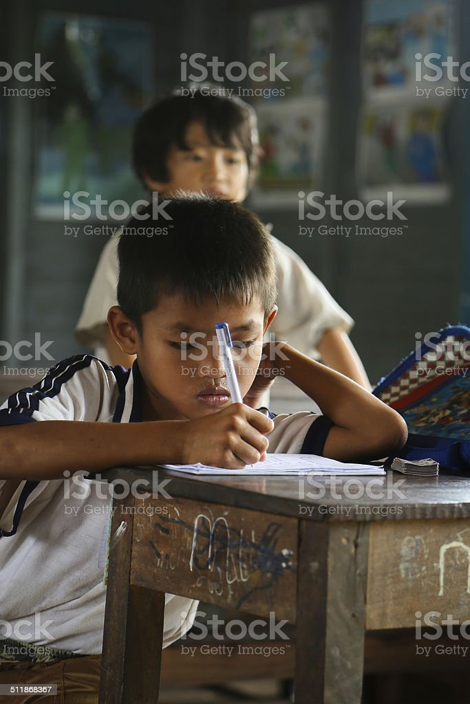 Cambodian kid in the classroom stock photo
