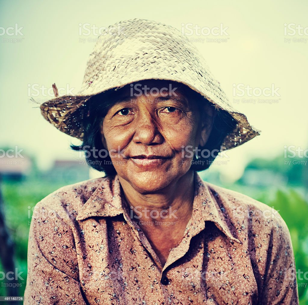 Cambodian Local Female Farmer Portrait Concept stock photo