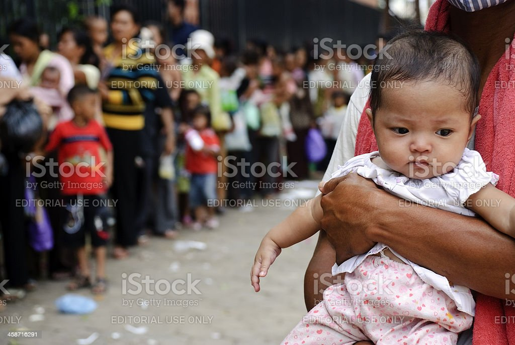 Baby waiting for vaccination stock photo