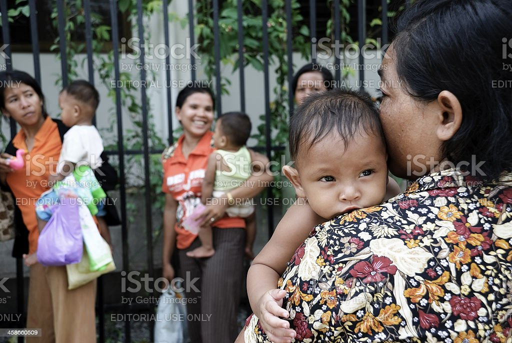 Cambodian mothers and children stock photo