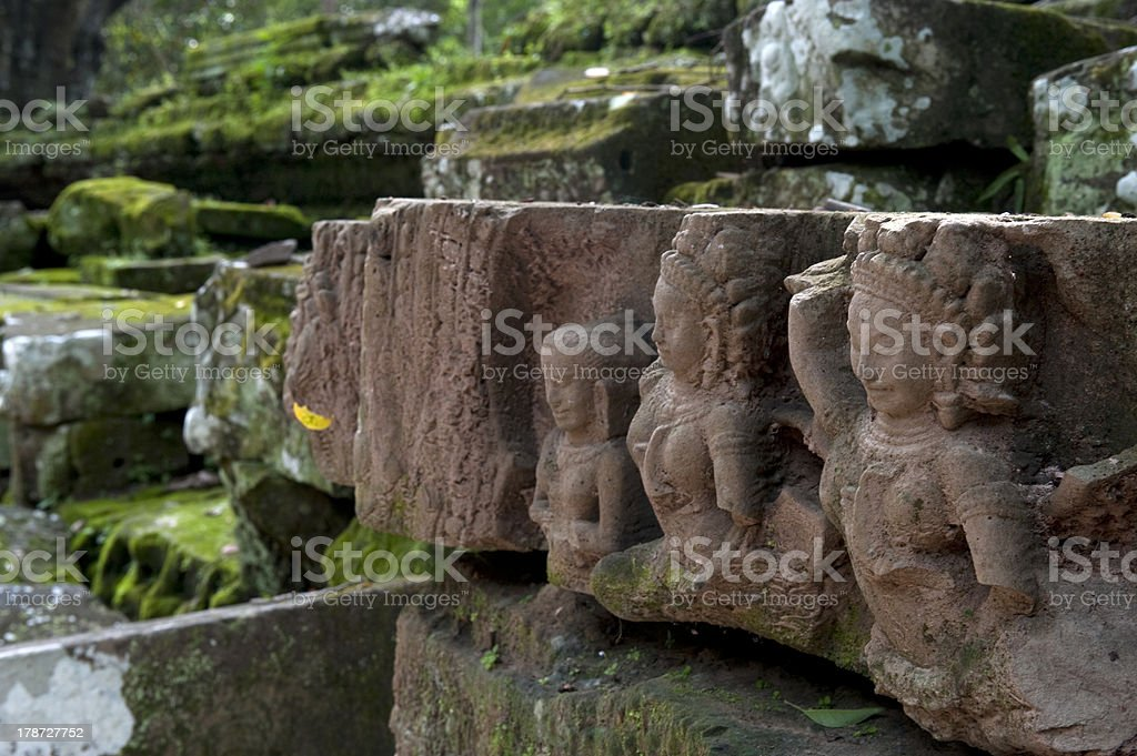 cambodian sculptures royalty-free stock photo