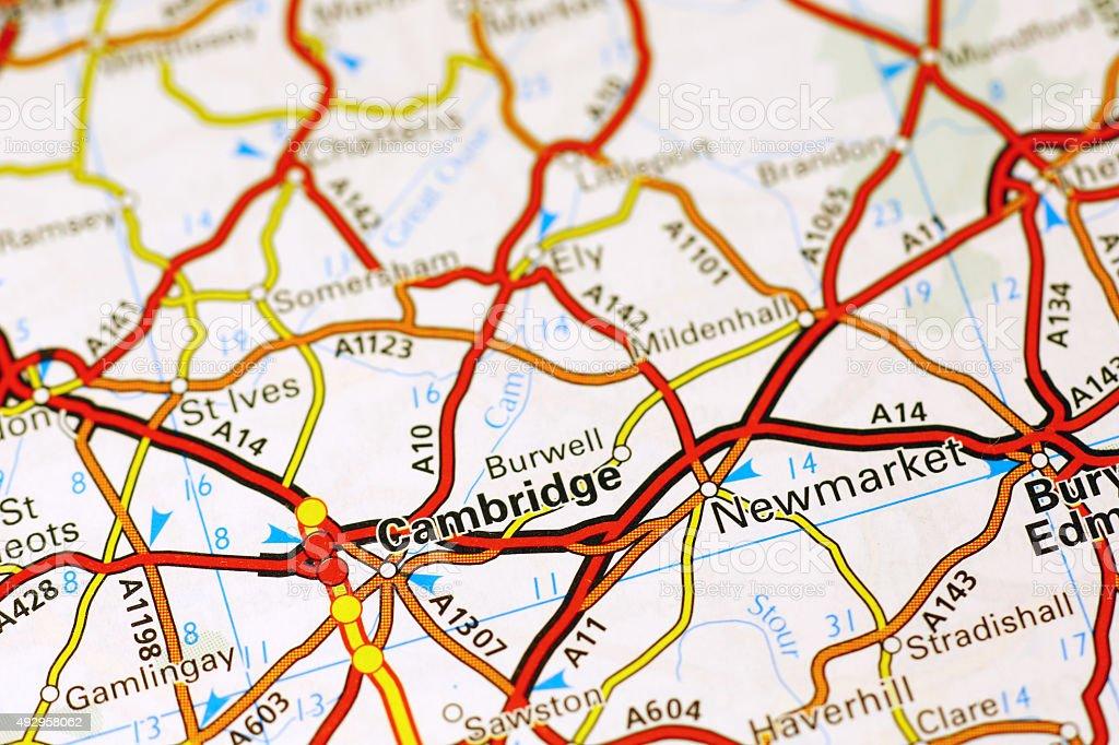 Cambridge area on a map stock photo