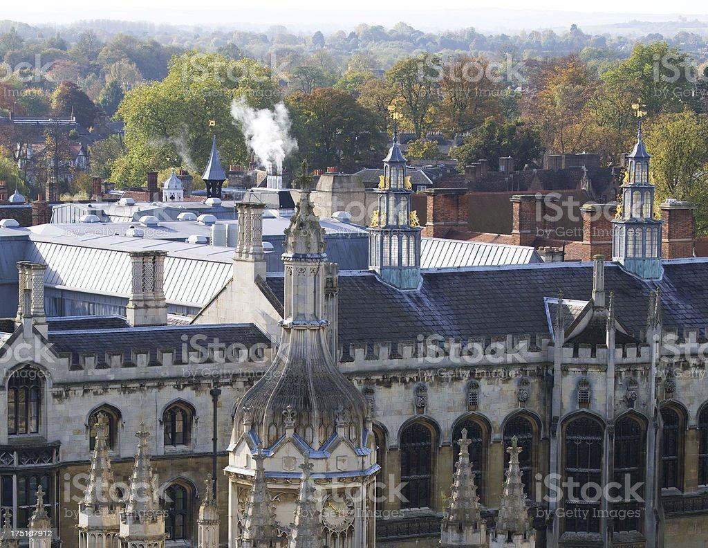 Cambridge autumn rooftops royalty-free stock photo