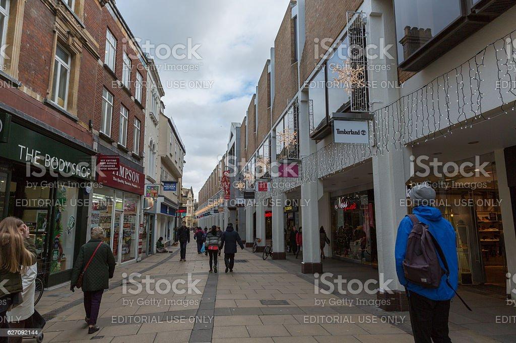 Cambridge England city centre shopping street stock photo
