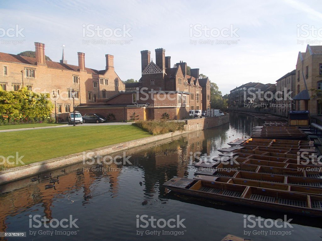 cambridge - magdalene college and water canal stock photo