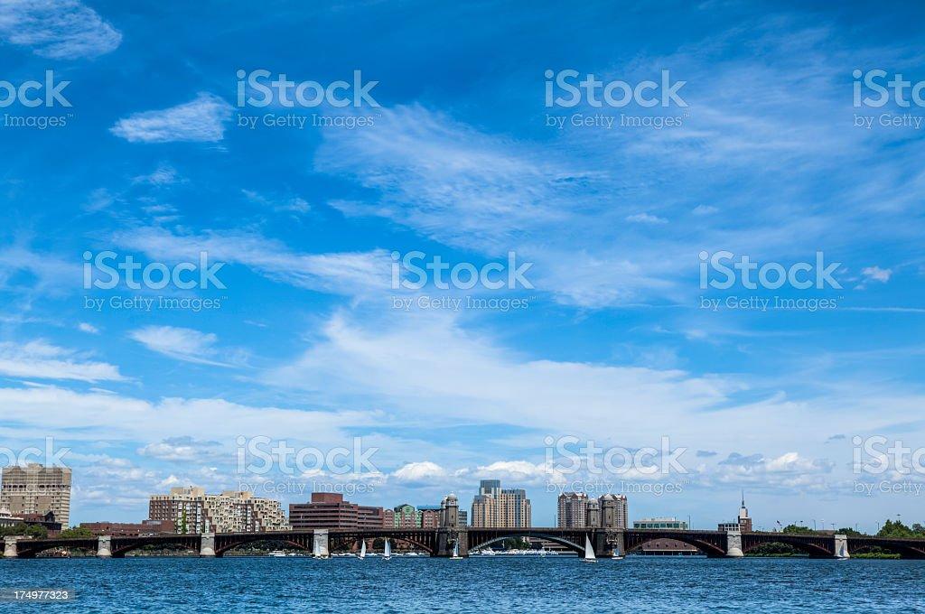 Cambridge, Massachusetts, under Wispy Cirrus Clouds royalty-free stock photo