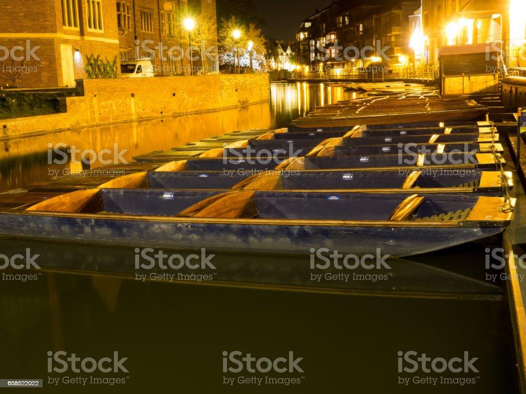Cambridge Punts at Night stock photo