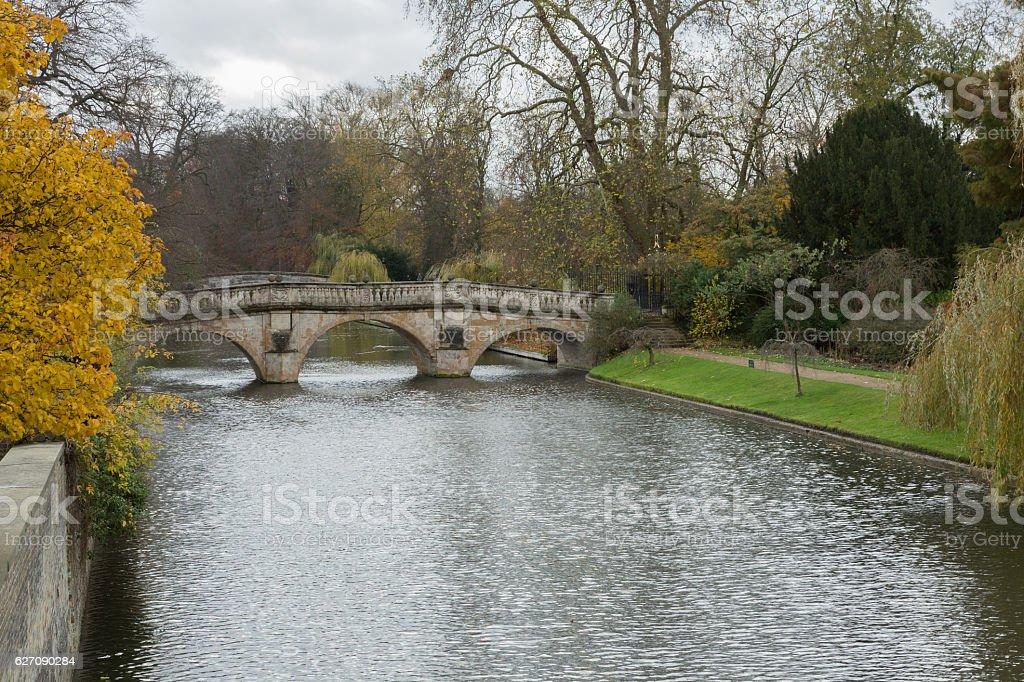 Cambridge street and river scene in autumn stock photo