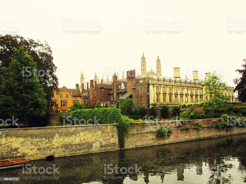 Cambridge University and the river Cam stock photo