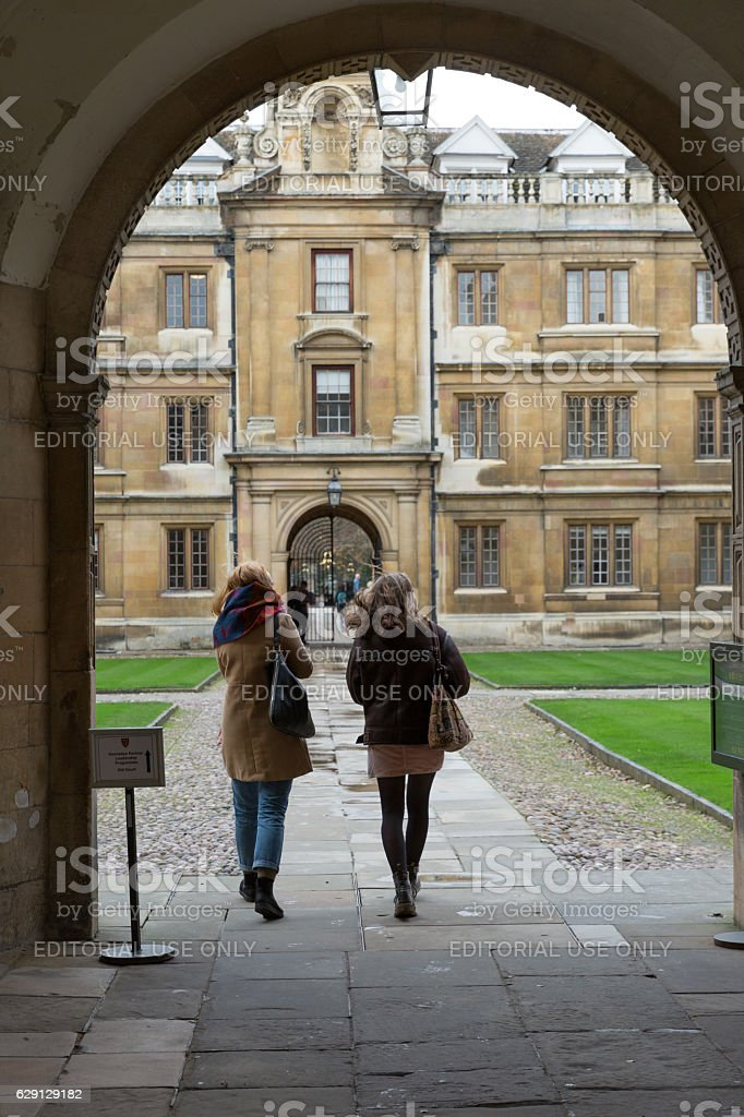 Cambridge University architecture street scene stock photo