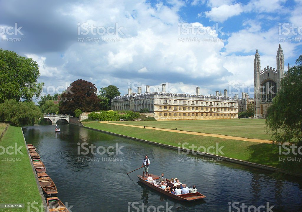 Cambridge University, river tour stock photo