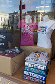cambridge university shop window display england uk