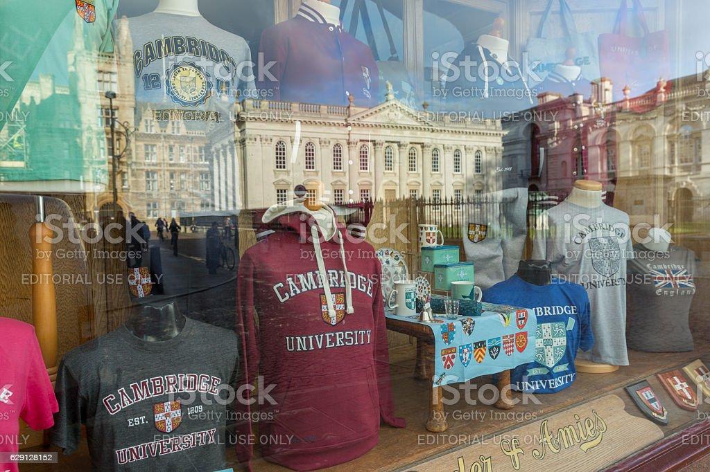 cambridge university shop window display england uk stock photo