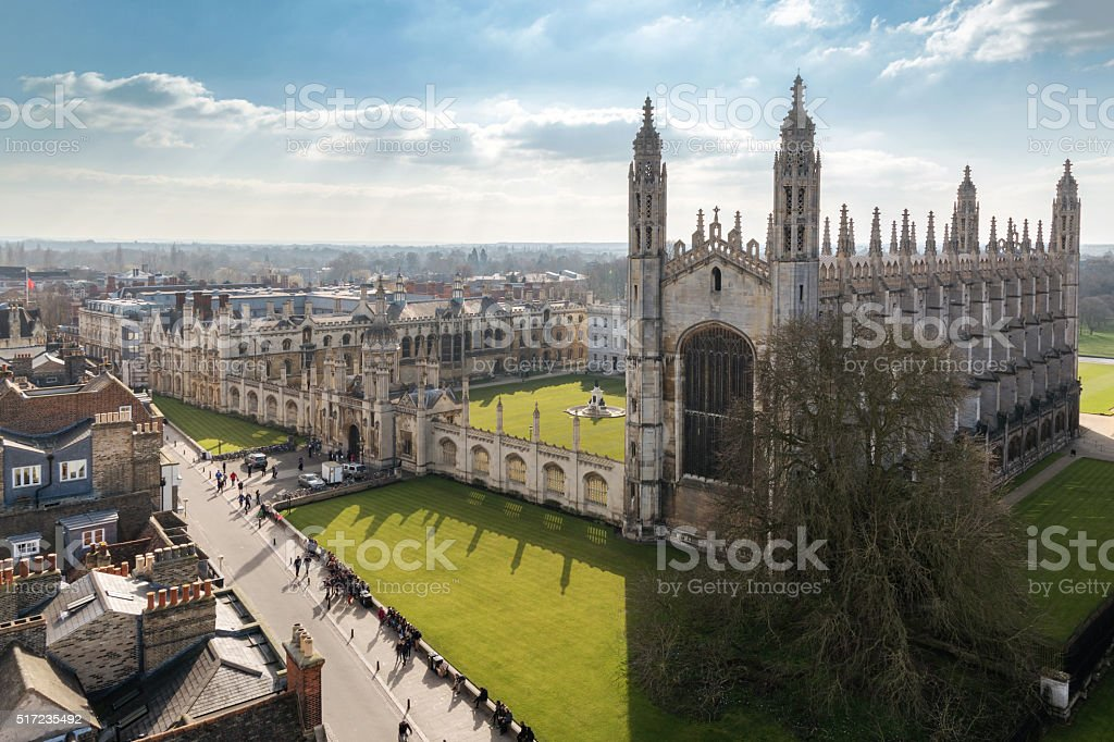 Cambridge University Top View stock photo