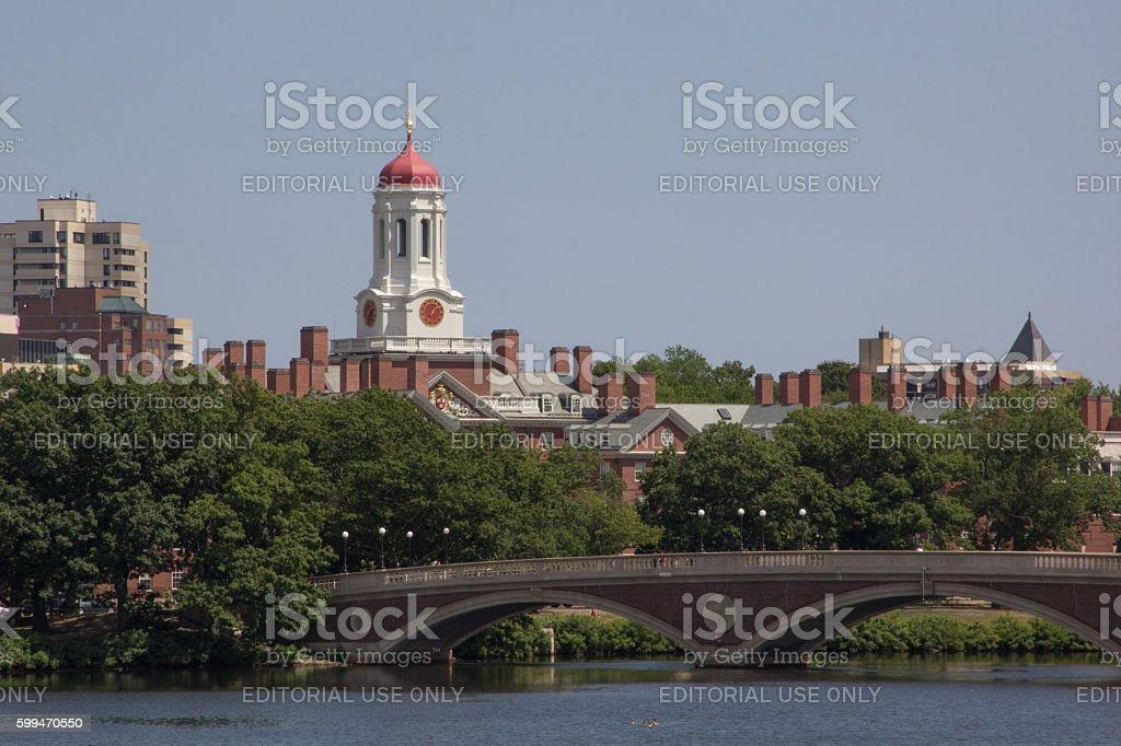 Cambridge's Skyline: Dunster house and the John W. Weeks bridge stock photo
