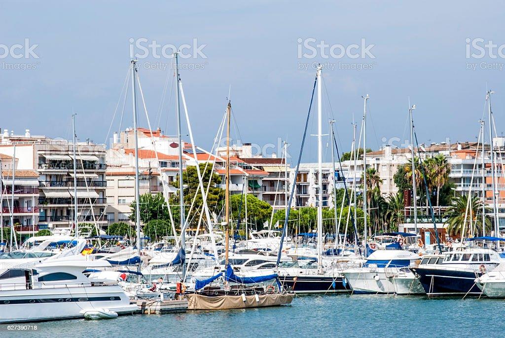 Cambrils port stock photo