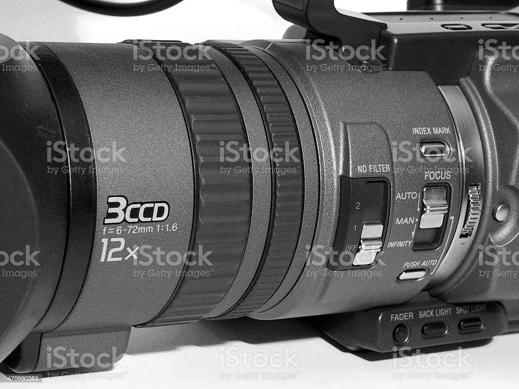 Camcorder closeup 3CCD stock photo