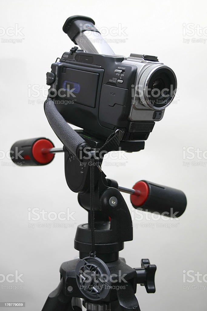 Camcorder on the tripod stock photo