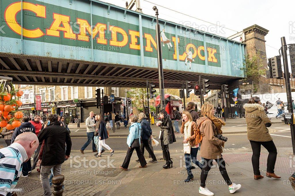 Camden Lock Bridge and People stock photo