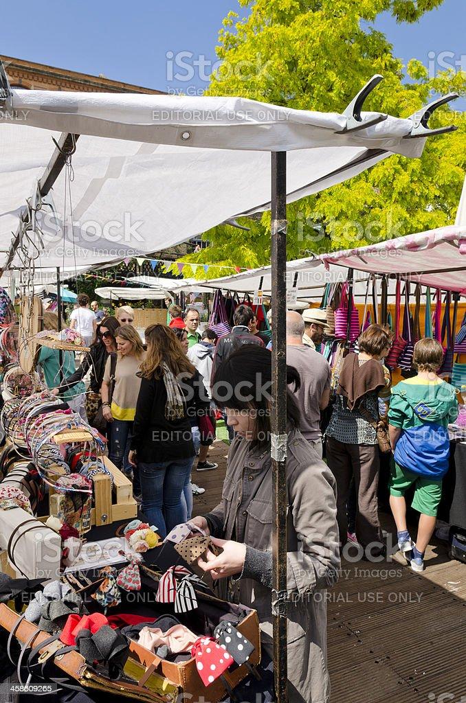 Camden Lock Market stalls, London stock photo
