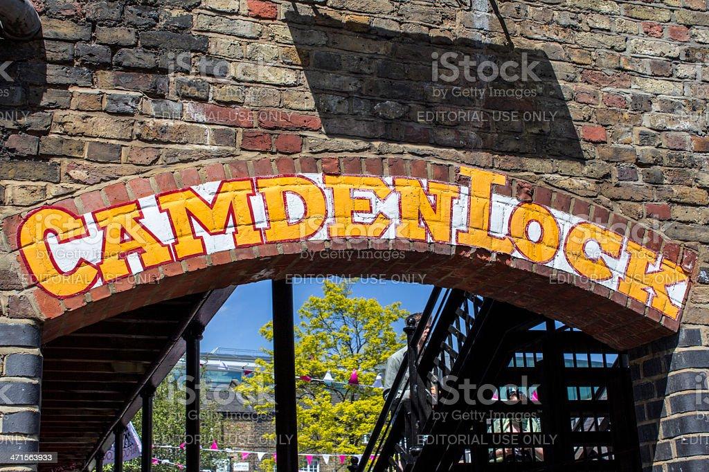 Camden Lock sign on bricks stock photo