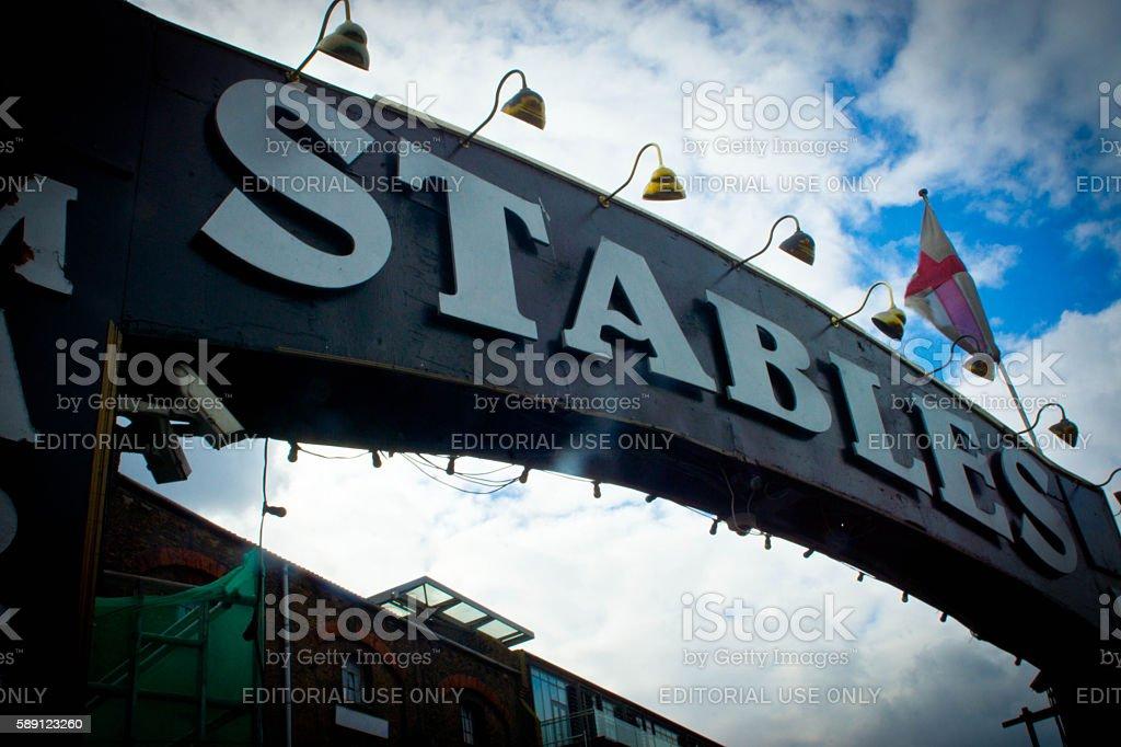 Camden Stables market Sign stock photo