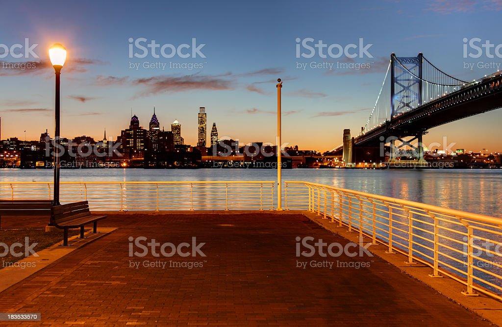 Camden Waterfront and the Philadelphia skyline stock photo