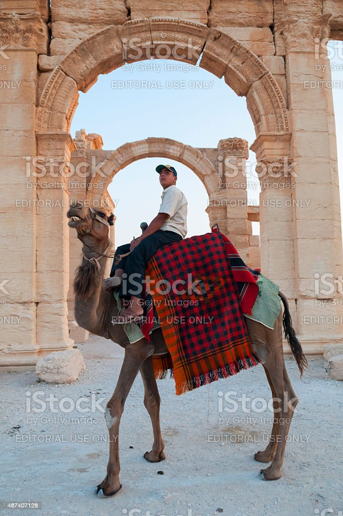 Camel and rider in ancient Palmyra, Syria stock photo