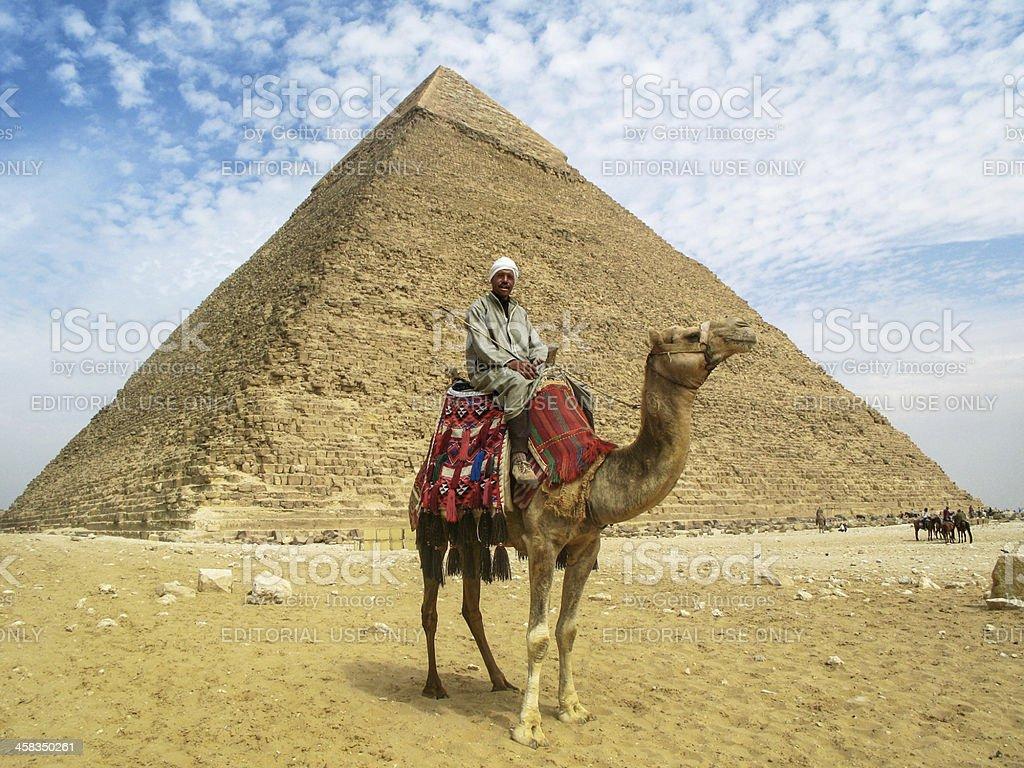 Camel Man in Front of Giza Pyramid royalty-free stock photo