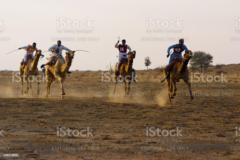 Camel racing in Jaisalmer stock photo