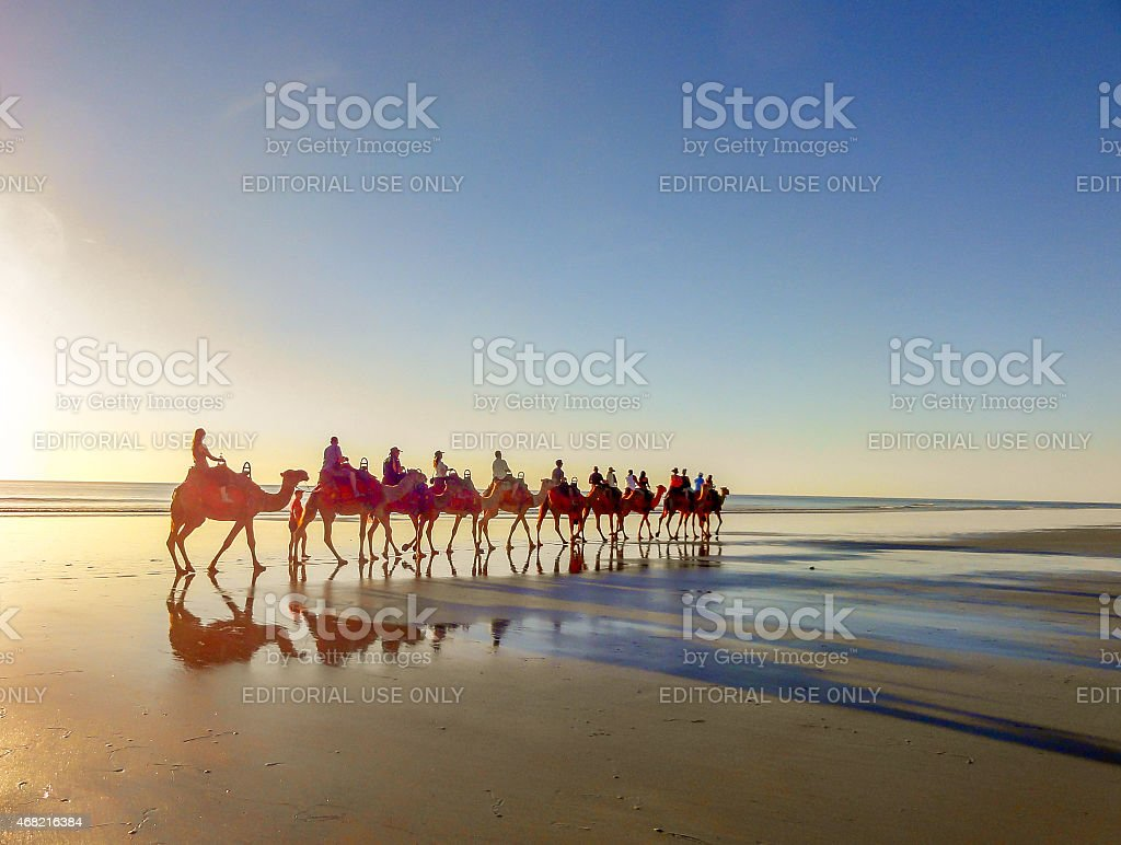Camel Ride on Cable Beach, Broome, Western Australia stock photo