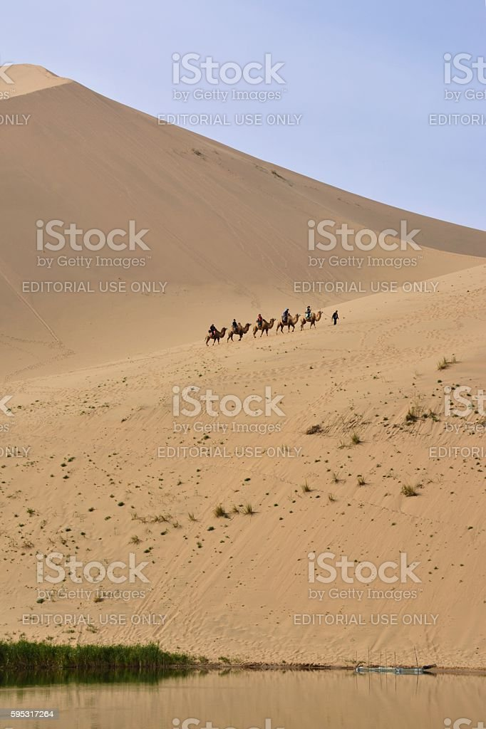 Camel riding in Badain Jaran desert, Inner Mongolia stock photo