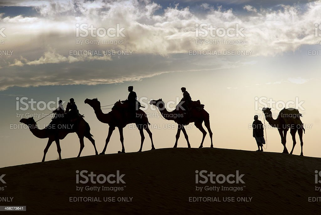 Camel riding in Thar Desert stock photo