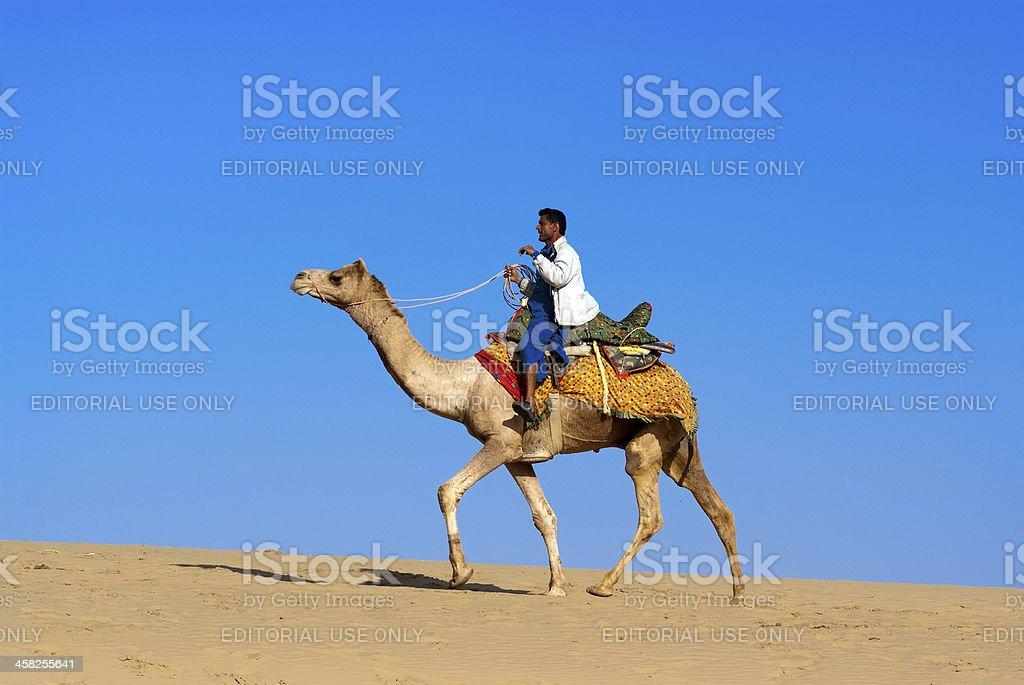 Camel riding, Thar Desert stock photo