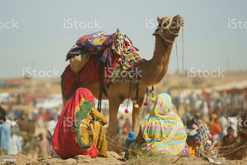 Camel surrounded by people in a desert festival stock photo