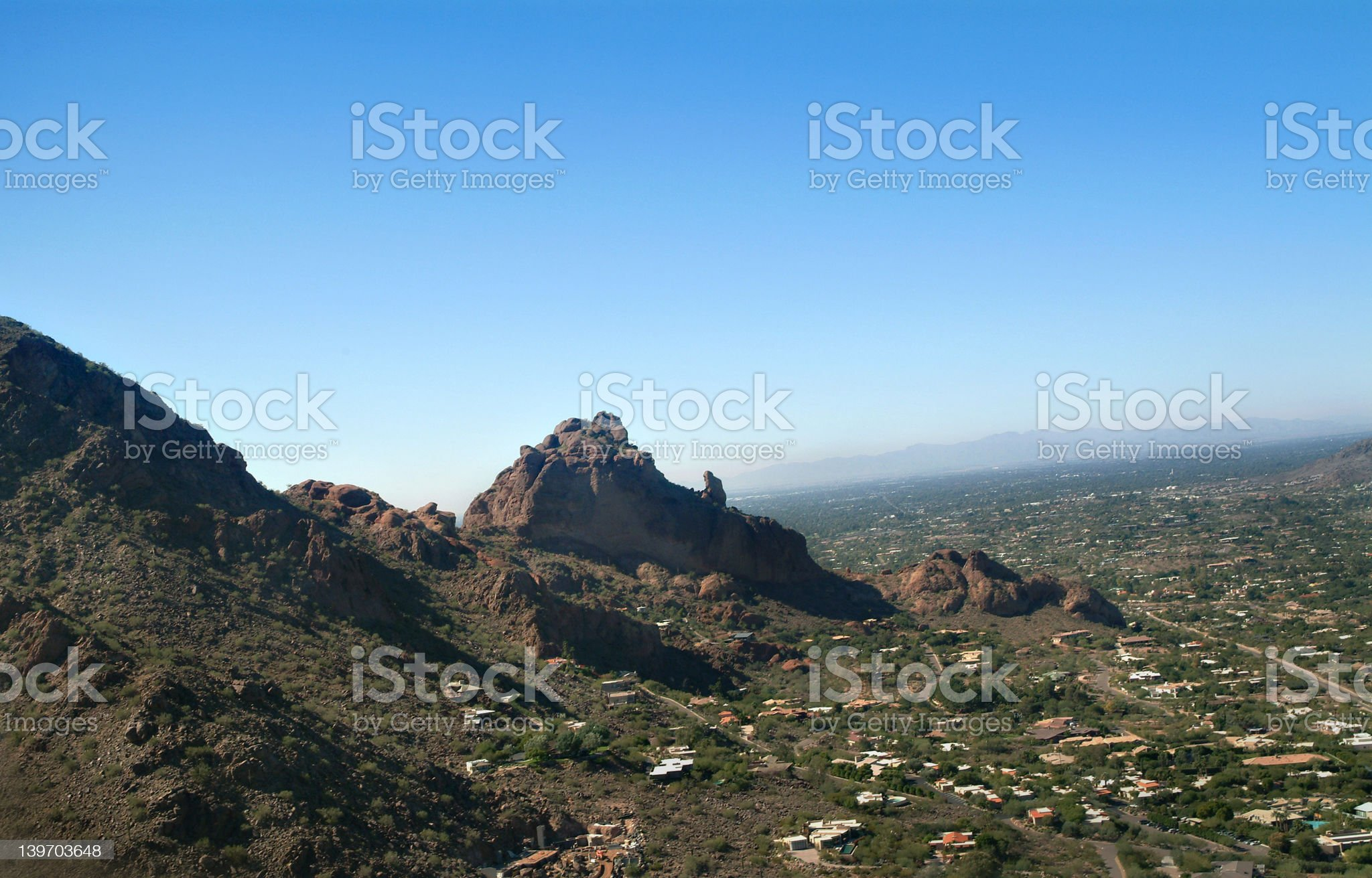 Camelback Mountain - Aerial 1 - Wide royalty-free stock photo
