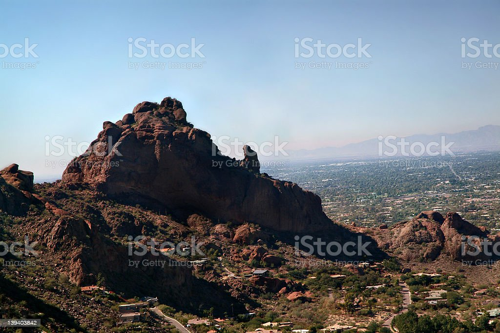 Camelback Mountain Aerial 2 - close royalty-free stock photo