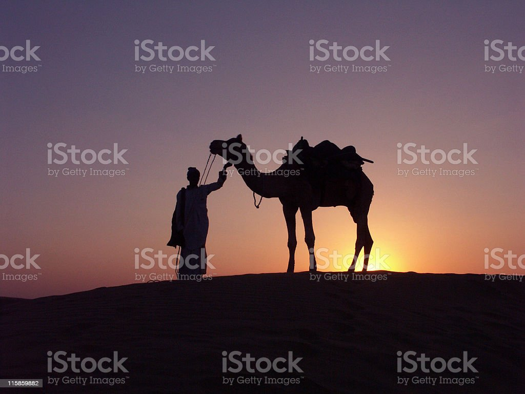 Cameldriver and camel standing on dune at sunset,Jaisalmer,Rajasthan stock photo