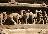 Camels and human figures on temple of Khajuraho