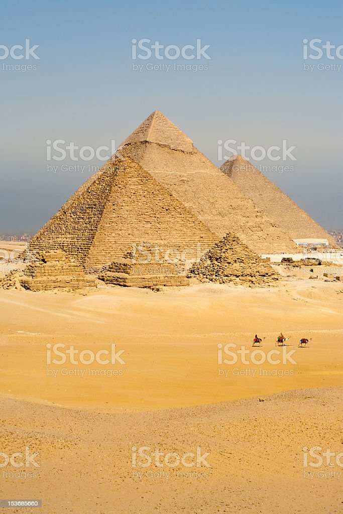 Camels Line Walk Pyramids All Vertical royalty-free stock photo