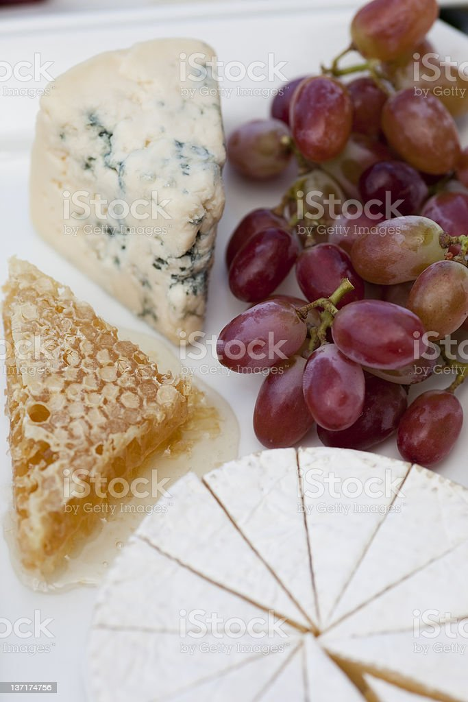Camembert, Bleu Cheese and Fruit Platter, Fromage Gourmand stock photo