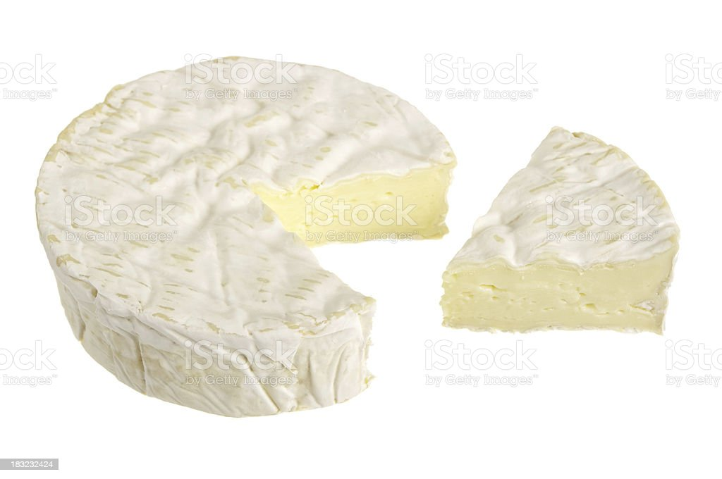 Camembert Cheese With Slice Cut Isolated On White stock photo