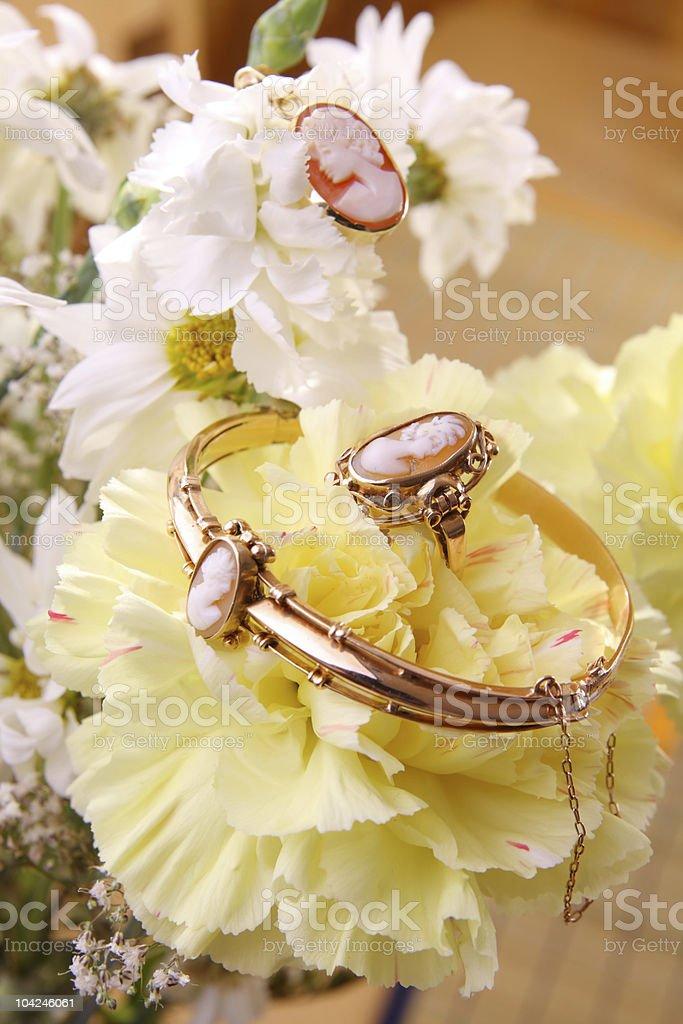 Cameo jewelry stock photo