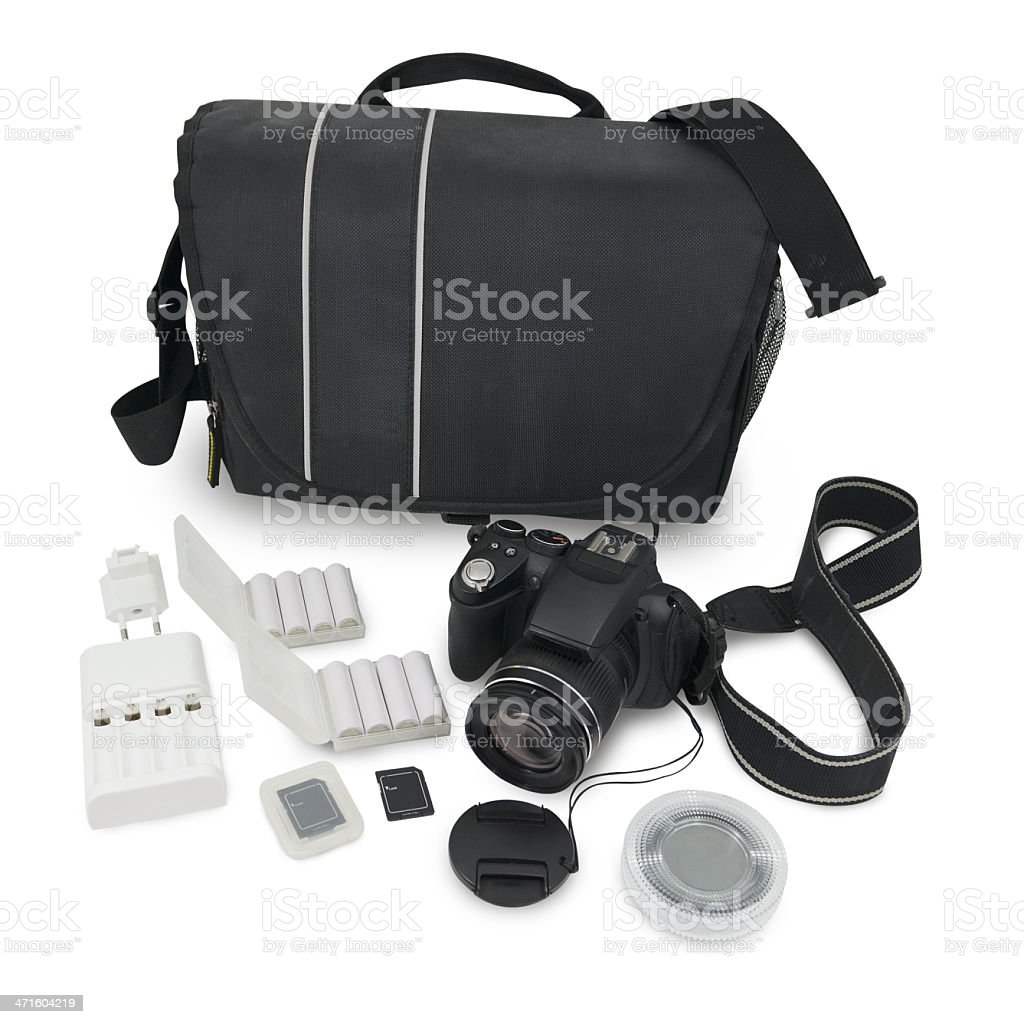 camera and accessories stock photo
