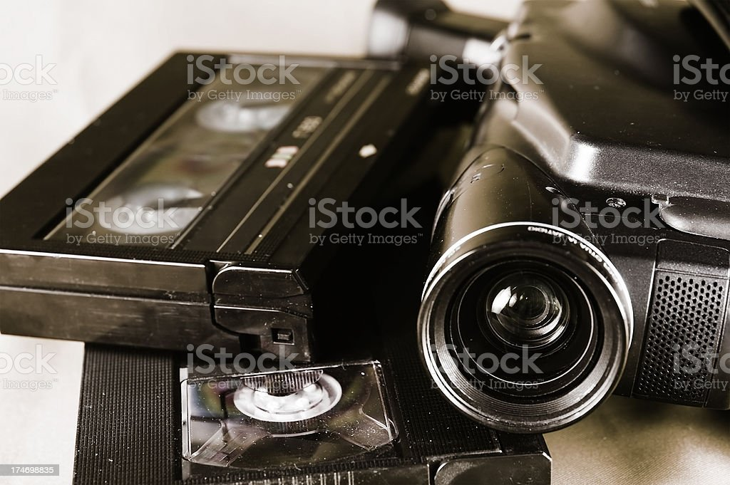 Camera and cassettes stock photo