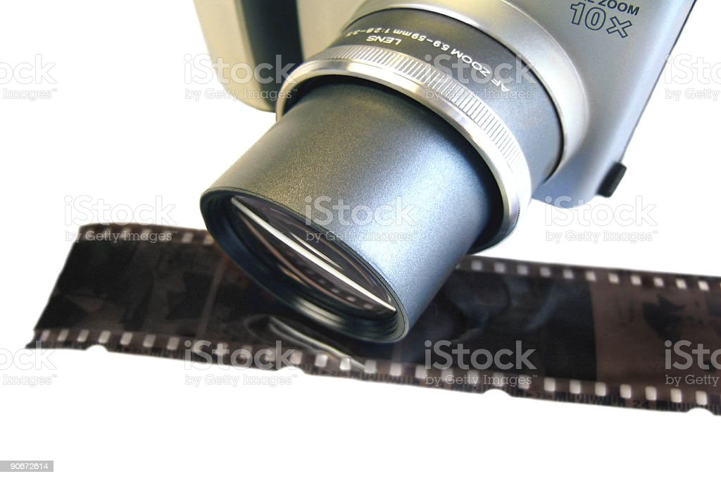 Camera and Film Negative stock photo