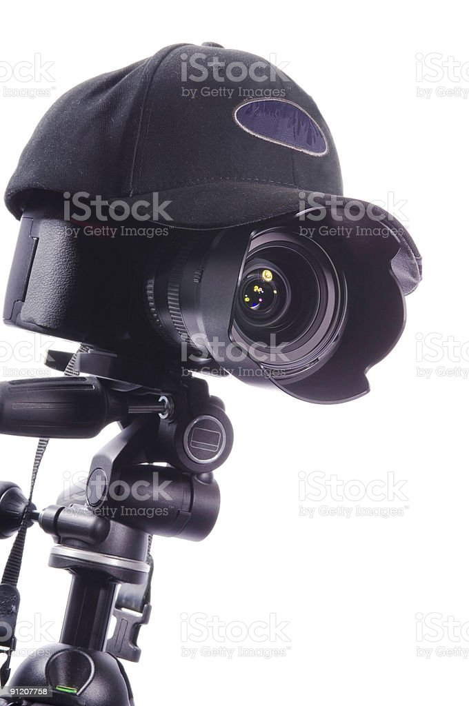 Camera and Hat 1 stock photo
