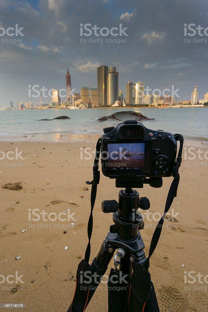Camera at beach stock photo