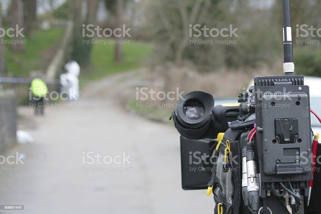 TV Camera at Murder Scene royalty-free stock photo